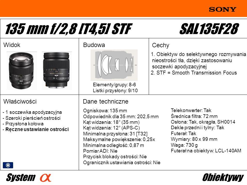 135 mm f/2,8 [T4,5] STF SAL135F28 System Obiektywy Widok Budowa Cechy